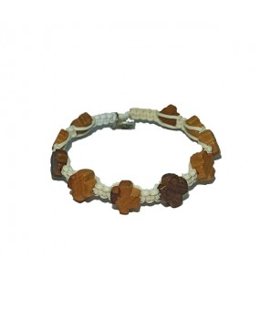 Rope braid Bracelet with Wooden Crosses Color WHITE