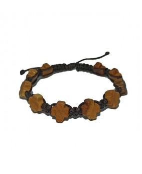 Rope braid Bracelet with Wooden Crosses Color BROWN