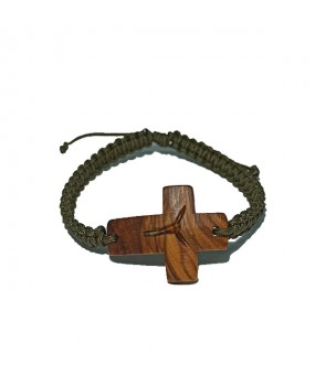 Rope braid Bracelet with Wooden Cross for Men Color DARK GREEN