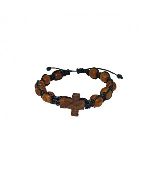 Rope braid Bracelet with Wooden Crosse and Wooden Beads Color BLACK