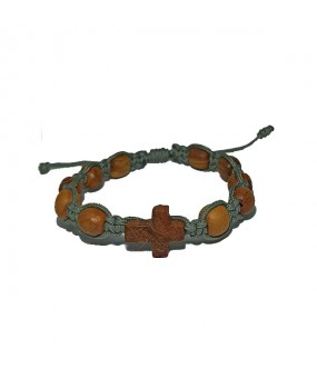 Rope braid Bracelet with Wooden Crosse and Wooden Beads Color GRAY