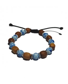 Brachelet with Olivewood Beads and Semiprecious stone for Women BLUE
