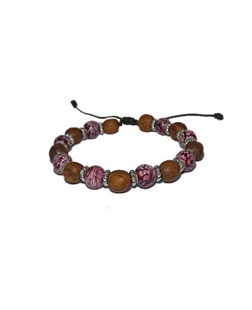Brachelet with Olivewood Beads and Semiprecious stone for Women RED