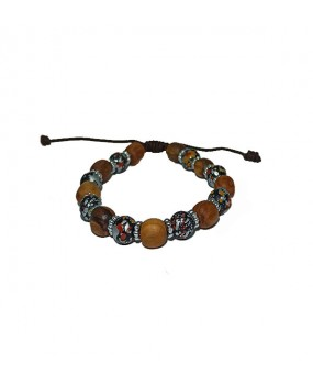 Brachelet with Olivewood Beads and Semiprecious stone for Women BLACK-GRAY