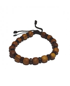 Rope braid Bracelet with Wooden Beads for Men Color BROWN