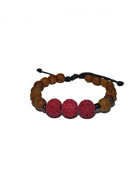 Brachelet with Olivewood Beads and three Semiprecious stones for Women CARDINAL LAVA