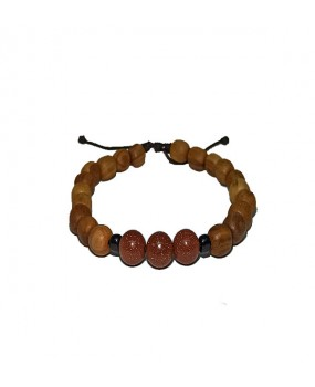 Brachelet with Olivewood Beads and three Semiprecious stones for Women BROWN GLITTER