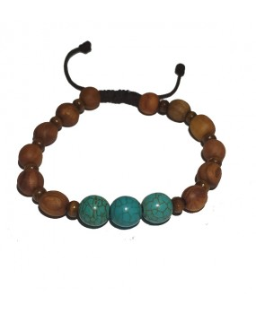 Brachelet with Olivewood Beads and Turquoise stone for Women (A)