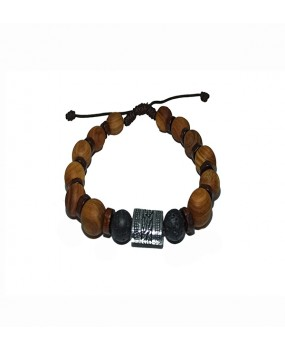 Brachelet with Olivewood Beads and Lava stone (A)