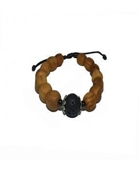 Brachelet with Olivewood Beads and Lava stone (C)