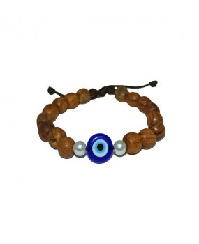 Brachelet with Olivewood Beads and Evil Eye Bead (A)