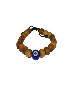 Brachelet with Olivewood Beads and Evil Eye Bead (B)
