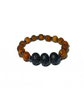 Brachelet with Olivewood Beads and Lava stone -Elastic cord- (A)