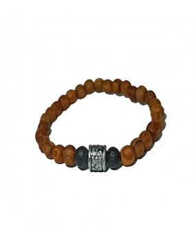 Brachelet with Olivewood Beads and Lava stone -Elastic cord- (B)