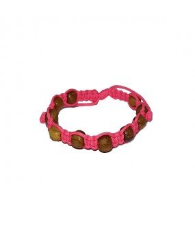 Rope braid Bracelet with Wooden Beads for Kids Color PINK