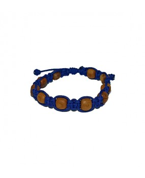Rope braid Bracelet with Wooden Beads for Kids Color BLUE