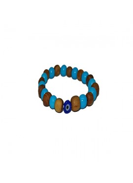 Brachelet with Olivewood and Light Blue Beads with Evils Eye for Kids - Elastic cord