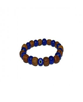 Brachelet with Olivewood and Blue Beads with Evils Eye for Kids - Elastic cord