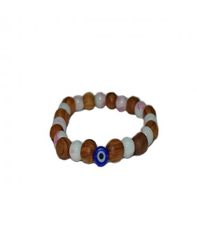 Brachelet with Olivewood and White-Pink Beads with Evils Eye for Kids - Elastic cord
