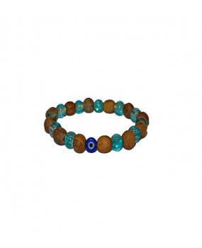 Brachelet with Olivewood and Turquoise Beads with Evils Eye for Kids - Elastic cord