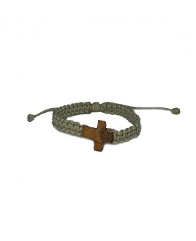 Rope braid Bracelet with Wooden Cross for Kids Color WHEAT