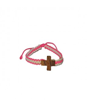Rope braid Bracelet with Wooden Cross for Kids Color PINK - WHITE