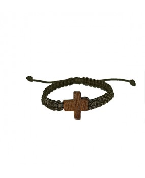 Rope braid Bracelet with Wooden Cross for Kids Color DARK GREEN