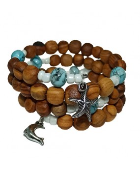 Spiral Brachelet with Olivewood Beads and Semiprecious Stones (Color tirquaz) for Women