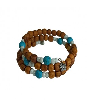 Spiral Brachelet with Olivewood Beads and Semiprecious Stones (Color Light Blue) for Women