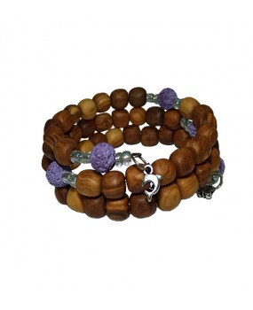 Spiral Brachelet with Olivewood Beads and Lava Stones (Color Purple) for Women